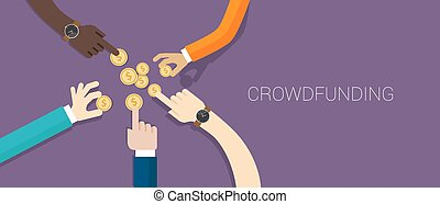 crowd funding money vector illustration collaboration