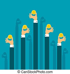 Crowd funding vector concept in flat style