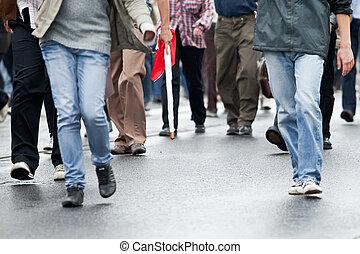 crowd, gehen, -, menschengruppe, gehen zusammen, (motion,...