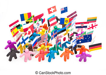 Crowd group of colourful plasticine humans with the various flags