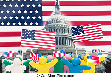 Crowd group of colourful plasticine humans with the USA flags