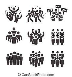 crowd icon - crowd, group icon set