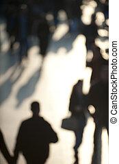 Crowd in sunlight