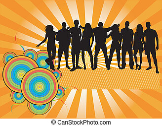 crowd, Leute,  -, silhouetten,  party,  Banner