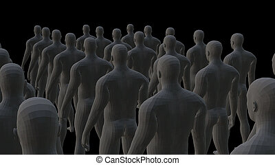 Crowd of 3d people. 3D illustration