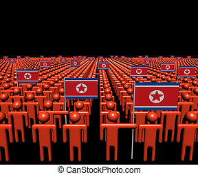 Crowd of abstract people with many North Korea flags illustration