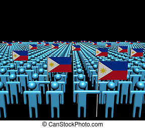 Crowd of abstract people with many Philippines flags illustration