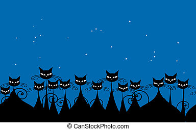 Crowd of black cats in the night, seamless pattern for your design