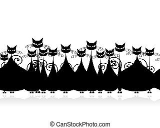 Crowd of black cats, seamless pattern for your design