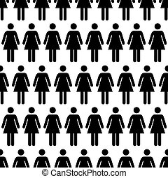 Crowd of black simple women icons on white, seamless pattern