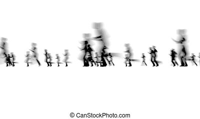Crowd of blurred people network concept City life on white 4k