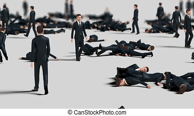 Crowd of Businessmen Collide with Each Other and Fall, Funny 3d Animation