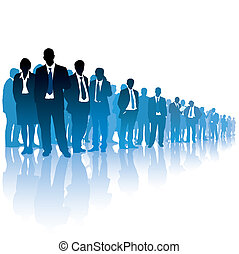 Businesspeople are standing and waiting for something on white background.