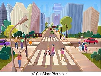 Crowd of cartoon people walking on urban modern cit street vector illustration.