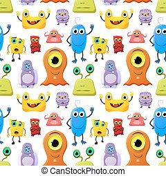 Crowd of cute monsters different colours on white background, seamless pattern