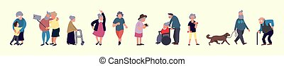 Crowd of elderly people. Senior outdoor activities. Old men and women walking. Recreation and leisure senior activities concept
