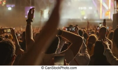 Crowd of fans cheering at open-air music festival - Crowd of...