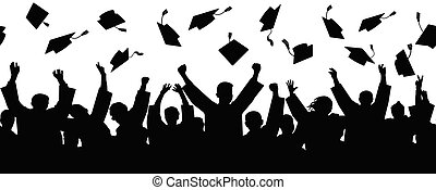 Crowd of graduates throw square academic caps, seamless pattern, silhouettes. Vector illustration.