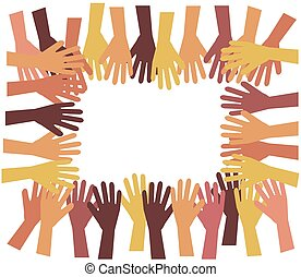 Crowd of hands on a white background.