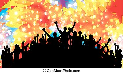 Crowd of happy, satisfied people silhouettes. Vector Illustration.