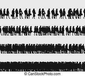 Crowd of managers - Turn of people going to office. A vector...