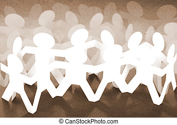 Crowd of Paper Chain People on Brown Background