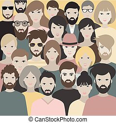 Crowd of people. A big group of different people. Vector.