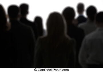 Crowd of people, black silhouettes and white background