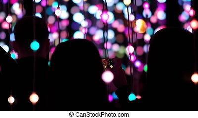 Crowd of People Enjoying LED Lights - Public light...