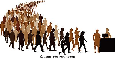 Crowd of people go to register. Reception girl with computer at the counter. Isolated vector silhouette on white background