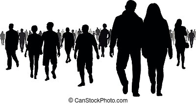 Crowd of people going to a meeting silhouette