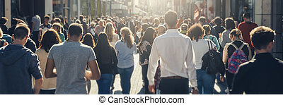 crowd of people in a shopping street