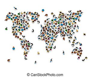 Crowd of people in the form of world map.