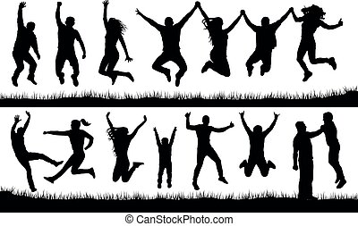 Crowd of people jumping, friends man and woman set. Cheerful girl and boy silhouette vector collection