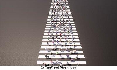 Crowd of People on road zebra