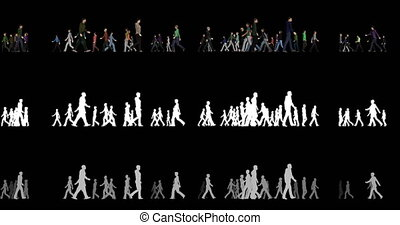Crowd of people run and go in different directions with an alpha channel and a depth channel