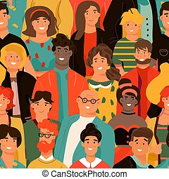 Crowd of people seamless pattern. Group of diverse people background. Young men and women with different skin color. Vector design element