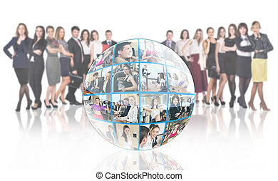 Crowd of people stands beside collage sphere