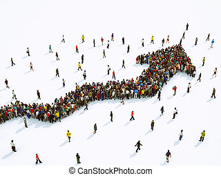 Crowd of people united forming a growing arrow. 3D Rendering