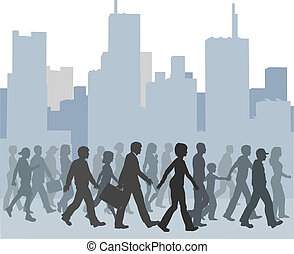Crowd of people walking city skyline