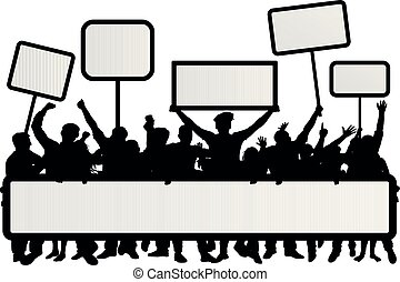 Crowd of people with flags, banners. Manifestation, demonstration, protest, strike, revolution. Isolated on white background, vector silhouette