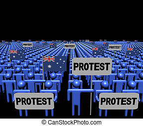 Crowd of people with protest signs and Australian flags illustration