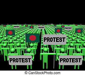 Crowd of people with protest signs and Bangladesh flags illustration