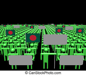 Crowd of people with signs and Bangladesh flags illustration