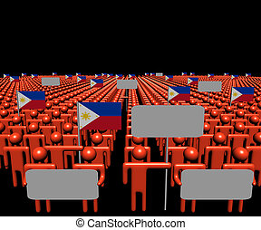 Crowd of people with signs and Philippines flags illustration