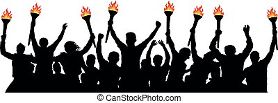 Crowd of people with torches. Isolated vector silhouette