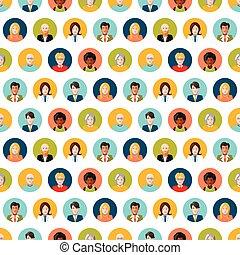 Crowd of round flat people avatars, seamless pattern