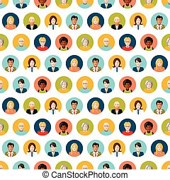 Crowd of round flat people avatars, seamless pattern