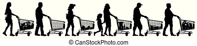 Crowd of shoppers with products trolleys. Silhouette of people walking with shopping in a supermarket