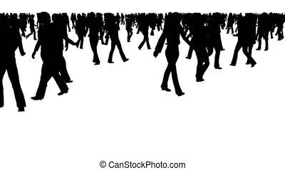 Crowd of silhouette people moves on white